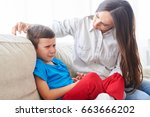 close up shot of young mother... | Shutterstock . vector #663666202