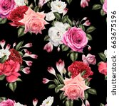seamless floral pattern with... | Shutterstock . vector #663675196