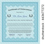 light blue certificate of... | Shutterstock .eps vector #663677272