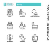 line icons about hotel. | Shutterstock .eps vector #663687232