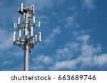 cell phone tower against blue... | Shutterstock . vector #663689746