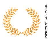 wreath leaves ornament | Shutterstock .eps vector #663692836