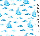 Seamless Sea Pattern With Blue...