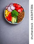 salad.raw mixed vegetables and  ... | Shutterstock . vector #663695386