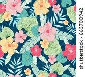 vector tropical summer hawaiian ... | Shutterstock .eps vector #663700942