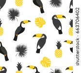 seamless tropical pattern in...
