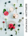 flowers pattern made of red and ...   Shutterstock . vector #663706858