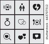 set of 9 editable love icons....