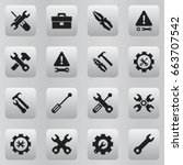 set of 16 editable repair icons.... | Shutterstock .eps vector #663707542