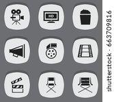 set of 9 editable cinema icons. ...