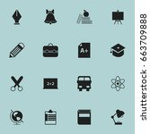 set of 16 editable school icons.... | Shutterstock .eps vector #663709888