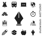 set of 12 editable school icons.... | Shutterstock .eps vector #663716365