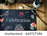 celebration birthday party... | Shutterstock . vector #663727186