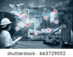 smart technology concept with... | Shutterstock . vector #663729052