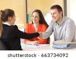 couple of happy customers... | Shutterstock . vector #663734092