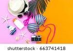 summer fashion woman swimsuit...   Shutterstock . vector #663741418