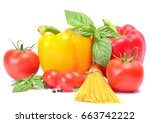 products for pasta preparation | Shutterstock . vector #663742222