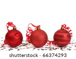 Three Red Christmas Baubles...