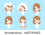 woman with hair care concept on ...   Shutterstock .eps vector #663745402
