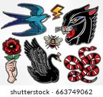 set of animals and items in... | Shutterstock .eps vector #663749062