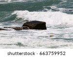 stones lie on the seashore | Shutterstock . vector #663759952