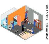 interior renovation room or...   Shutterstock .eps vector #663771406