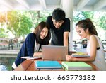 young students asian together... | Shutterstock . vector #663773182