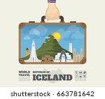 hand carrying iceland landmark... | Shutterstock .eps vector #663781642