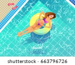 sexy girl relaxing on ring... | Shutterstock .eps vector #663796726