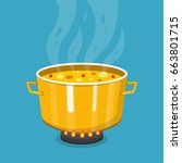 cooking soup in pan. pot on... | Shutterstock .eps vector #663801715