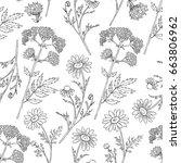 seamless floral vector pattern  ... | Shutterstock .eps vector #663806962
