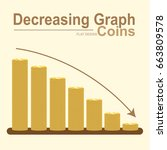 decreasing graph of golden coin ... | Shutterstock .eps vector #663809578
