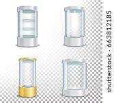 round empty glass showcase... | Shutterstock . vector #663812185