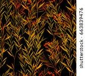 imprints herbarium with berries ... | Shutterstock . vector #663839476