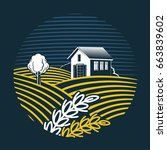 vector  image of farm and field.... | Shutterstock .eps vector #663839602