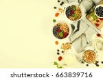 homemade granola  with dried... | Shutterstock . vector #663839716