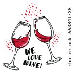 """we love wine"" poster with two... 