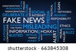 fake news word tag cloud. 3d... | Shutterstock . vector #663845308