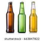 bottles of beer on white... | Shutterstock . vector #663847822
