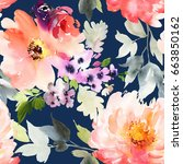 seamless summer pattern with... | Shutterstock . vector #663850162