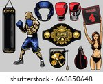 set of boxing items | Shutterstock .eps vector #663850648