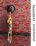 tibetan amulet on the door... | Shutterstock . vector #663859996