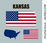 kansas map with usa flag | Shutterstock .eps vector #663861208