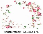 Stock photo flowers composition frame made of dried rose flowers flat lay top view 663866176