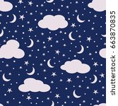 clouds  moon and stars in the... | Shutterstock .eps vector #663870835