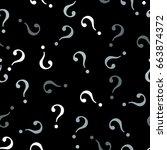 question mark seamless pattern .... | Shutterstock .eps vector #663874372
