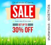 summer selling ad banner ... | Shutterstock .eps vector #663879106