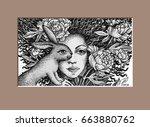 Stock vector graphic illustration rabbit imitation engraving techniques vector 663880762