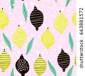 seamless pattern with creative... | Shutterstock . vector #663881572