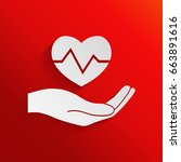 hand holding heart. medical icon | Shutterstock . vector #663891616